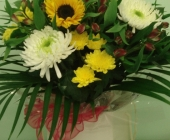 Bright Hand Tie with Sunflower and Blooms