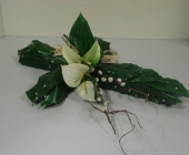 Contemporary Cross with Peace Lily and Pussy Willow