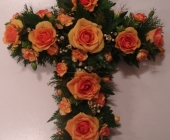 Open Cross with Roses, Wax Flower and Spray Carnation