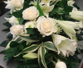 Rose and Lily Sheaf in Foam with Exposed Stalks