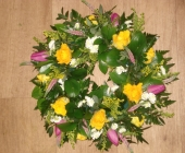 Open Wreath Ring with Roses, Tulips and Veronica
