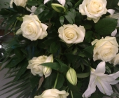 6 ft Casket Spray in Avalanche Roses and Lilies