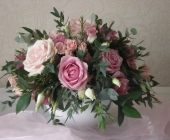 Rose and Lisianthus Table Decoration in Ceramic Pot