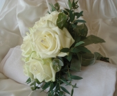 Bridesmaids Bouquet with Avalanche Roses and Eucalyptus