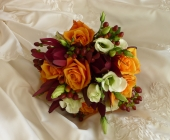 Cherry Brandy Roses with Lisianthus and Hypericum